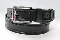 Ремень кожаный классический 40 мм  черный с черной ниткой пряжка хром 2 кожаных тренчика
