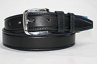 Ремень кожаный классический 40 мм черный с синей ниткой пряжка хром