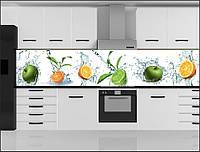 Стеклянный фартук для кухни - скинали Фрукты Вода