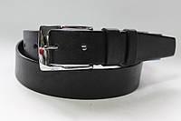 Ремень кожаный класический 40 мм черный гладкий пряжка хромированая серебряная