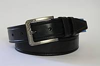 Ремень кожаный классический 40мм черный с черной ниткой пряжка матовая текстурная