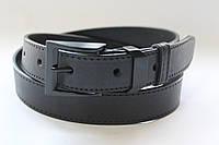 Ремень кожаный классический 35 мм черный прошитый черной ниткой пряжка комплект черный матовый