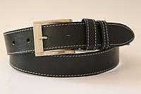 Ремень кожаный класический 40 мм черный с белой ниткой пряжка матовая