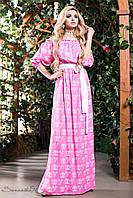 Красивое летнее длинное платье из натуральной ткани штапель с открытыми плечами рукава фонарик 42-52 размеры