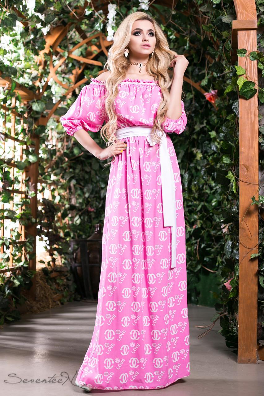 72c0a20b607 Красивое летнее длинное платье из натуральной ткани штапель с открытыми  плечами рукава фонарик 42-52 размеры