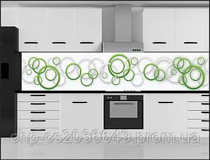 Стеклянный фартук для кухни - скинали Узор Круги Салатовые