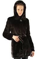 Шуба из норки чёрного цвета с капюшоном 70 см, фото 1
