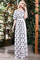 Красиве літнє довга сукня з натуральної тканини штапель з відкритими плечима рукава ліхтарик 42-52 розміри, фото 1