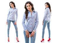 Женская классическая рубашка в мелкую полоску