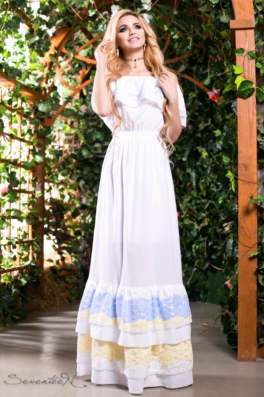9b6d4ad8aa9 Летний длинный сарафан платье с открытыми плечами на бретелях из батиста с  кружевом 44-50