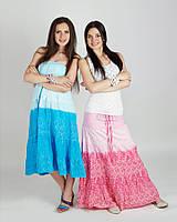 Легкая модная летняя юбка  в пол  , бирюзовая