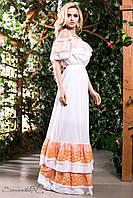Летний длинный сарафан платье с открытыми плечами на бретелях из батиста с кружевом 44-50 размеры