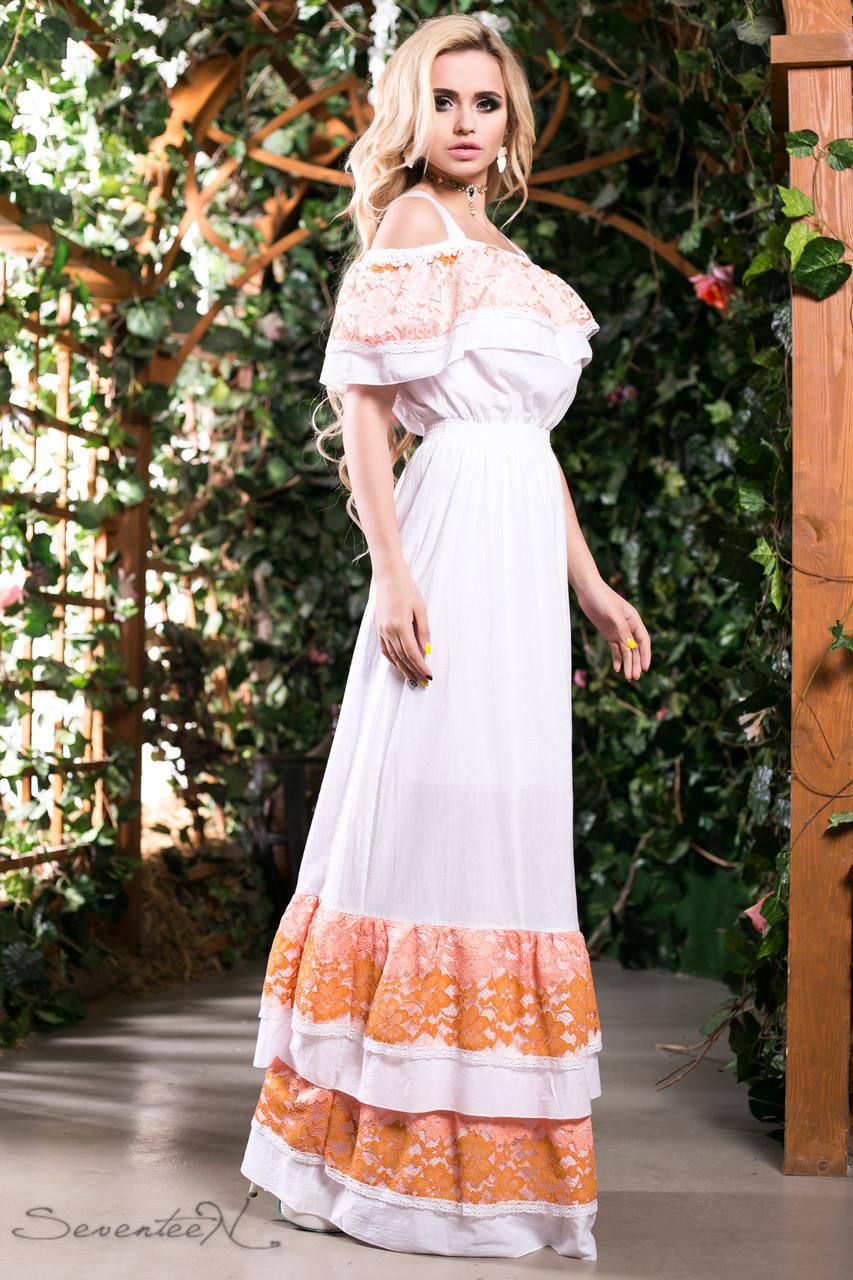 8d0b7edc2a8 Летний длинный сарафан платье с открытыми плечами на бретелях из батиста с  кружевом 44-50
