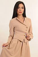 Двубортный укороченный пиджак на подкладке, костюмная ткань, 42-52 размеры