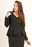 Пиджак на подкладке, отрезной по линии талии с баской ассиметричной формы, длинный рукав-реглан, 42-52 размеры 46