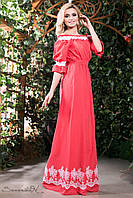 Летнее длинное платье сарафан из батиста с вышивкой с открытыми плечами под пояс 42-52 размеры, фото 1