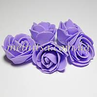 Роза из латекса, цвет сиреневый,   2,5-3 см