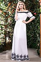 Летнее длинное платье сарафан из батиста с вышивкой с открытыми плечами под пояс 42-52 размеры