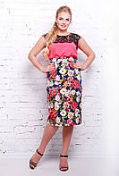 Коттоновая юбка-карандаш батал -21541 т.синий-розовый