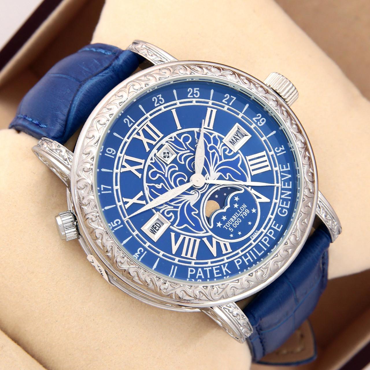 16b7d1c9 Астрономические часы Patek Philippe Grand Complications 6002 Sky Moon  Tourbillon - цвет платина в синем