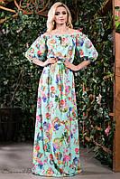 Летнее платье в пол сарафан с открытыми плечами и рукавом фонарик 42-52 размеры, фото 1