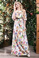 Літнє плаття в підлогу сарафан з відкритими плечима і рукавами ліхтарик 42-52 розміри, фото 1