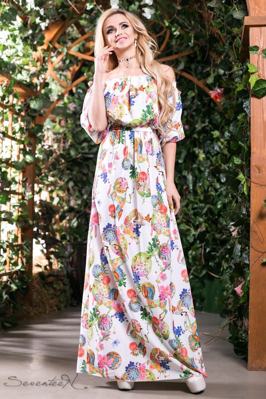 3248fa29b1e Летнее платье в пол сарафан с открытыми плечами и рукавом фонарик 42-52  размеры