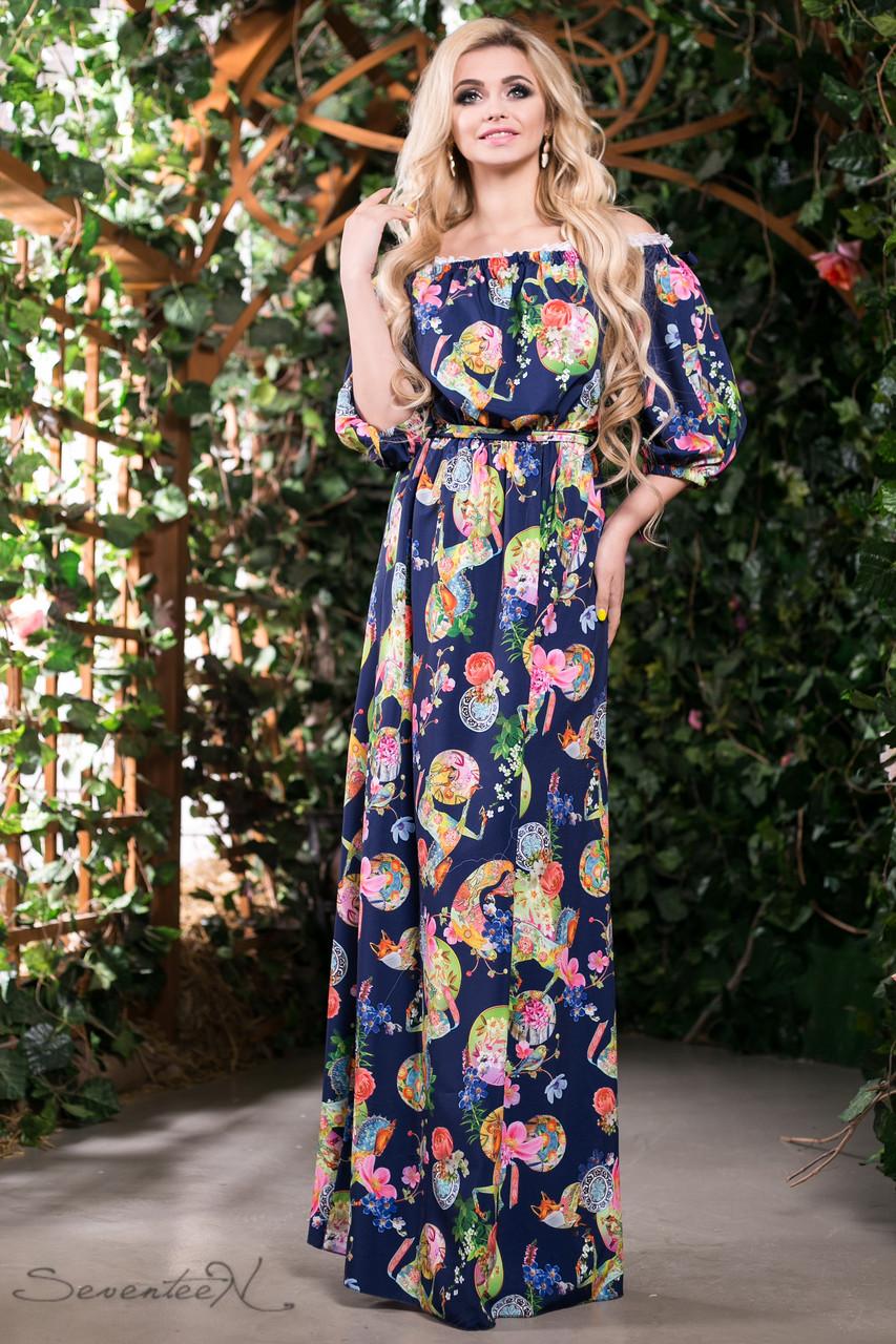 64edd3cddce Летнее платье в пол сарафан с открытыми плечами и рукавом фонарик 42-52  размеры