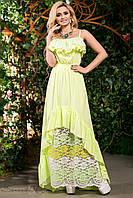 Летнее нарядное платье в пол сарафан с открытыми плечами из батиста с кружевом 42-52 размеры, фото 1