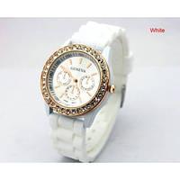 Часы наручные женские силиконовые Geneva New Vision Белые