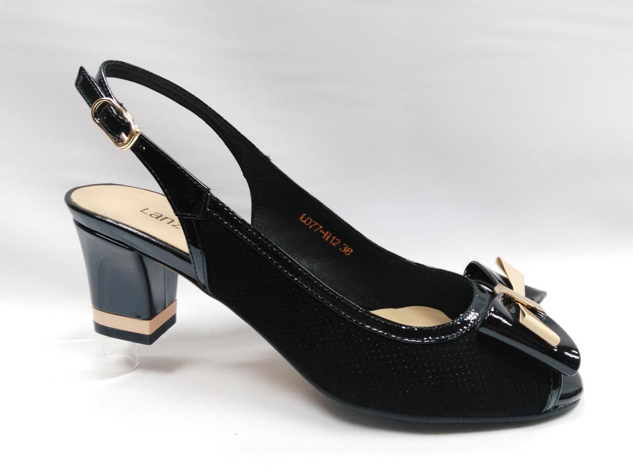Черные кожаные босоножки Lanzoni.