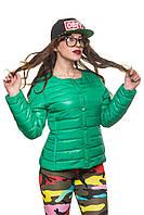 Стеганая короткая куртка на весеннем синтепоне без капюшона, 42-54 размера