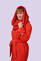 Стильное утепленное пальто с шарфом хомутом свободного непринужденного покроя, большого размера, 46-54 размер