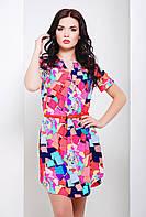 Короткое платье рубашечного кроя из легкого шелкового эластичного крепа, с геометричным принтом, 42-46 размеры, фото 1