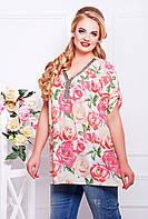 Красивая шифоновая блуза свободная с V-образным вырезом, цветочный принт весна, большого размера 54-62, фото 1