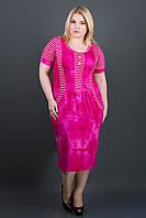 САРАФАН ДЖОАНИ (МАЛИНА), летнее платье, стройнящее, ниже колена, из вискозы, большого размера 54-64, батал