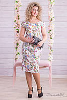 Летнее платье с короткими рукавами цветы ниже колена большие размеры 48-54, фото 1