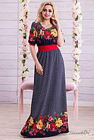 Длинное трикотажное весеннее платье с цветочным принтом 44-50, фото 1