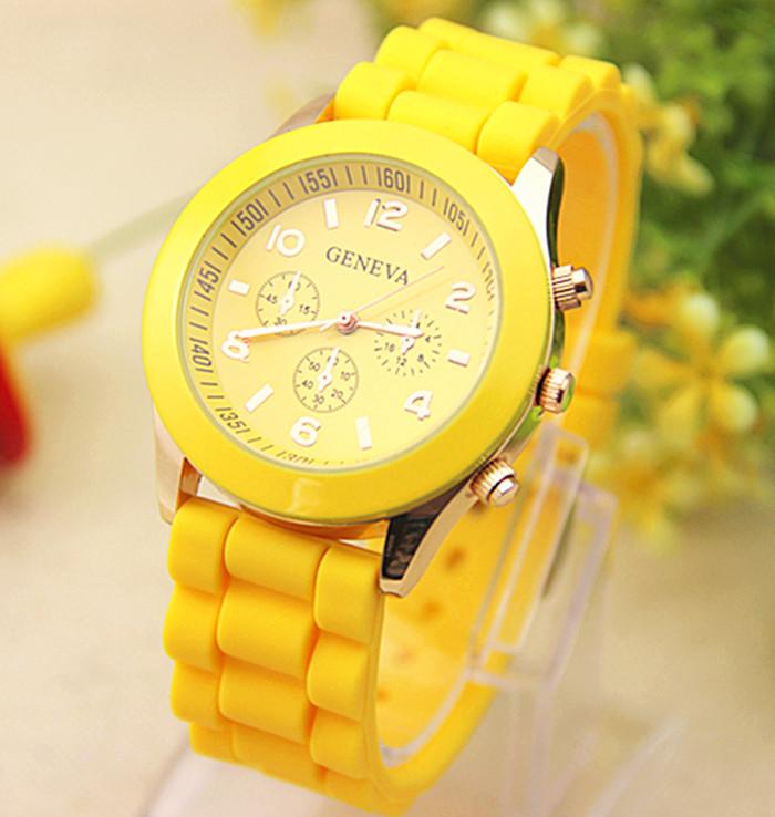 Женские часы силиконовые Geneva Luxury Yellow желтые