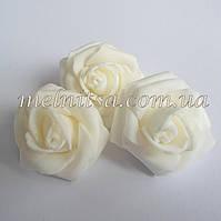 Роза из латекса, белая 3,5-4 см