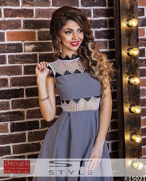 Платье сетка с трикотажем
