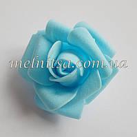 Роза из латекса, цвет голубой,  6 см