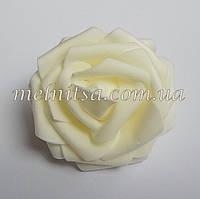 Роза из латекса, цвет кремовый ,  7 см