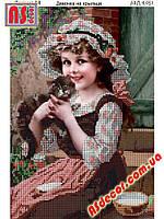 "Набор вышивка бисером ""Девочка на крыльце"" А4 (частичная зашивка) 29,6*20,8 см"