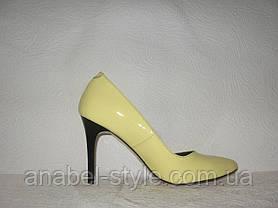 Туфли-лодочки женские стильные из натуральной лаковой кожи желтого цвета, фото 3