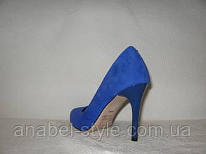 Туфли лодочки женские стильные на шпильке замшевые цвета электрик, фото 2
