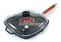 Сковорода ГРИЛЬ чавунна 28х28см зі знімною ручкою і скляною кришкою БІОЛ 1028С, фото 1