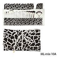 Набор кистей для макияжа ML-mix-10A - 24шт (ворс: нейлон) в мягком чехле на завязках (черно-белый)  Lady Victory