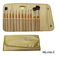 Набор кистей для макияжа ML-mix-3 - 12шт (ворс: нейлон,соболь) в мягком чехле на кнопках (золотой)  Lady Victory