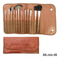Набор кистей для макияжа ML-mix-4B - 12шт (ворс: нейлон,соболь) в мягком чехле на кнопках (кофейный)  Lady Victory